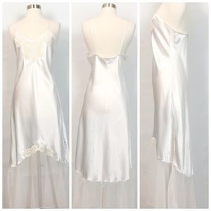 Vintage Victoria's Secret Ivory Satin Lace Dress L